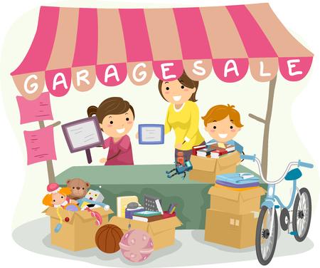 garage: Illustration of Kids Manning a Garage Sale Booth