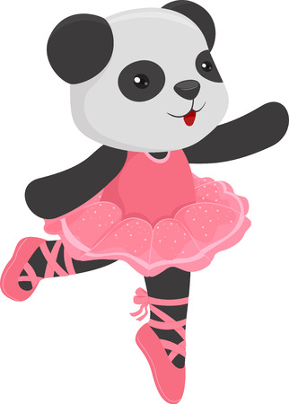 animal tutu: Illustration of a Cute Panda Wearing a Ballet Costume