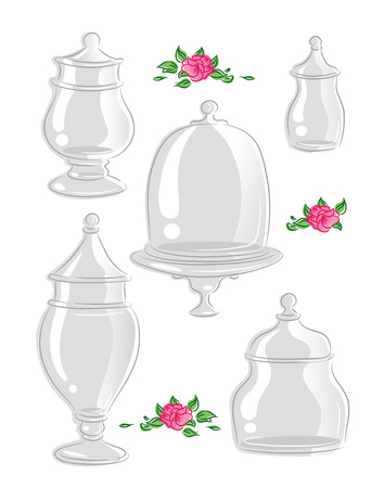 featuring: Illustration Featuring Glass Containers with Different Shapes Stock Photo