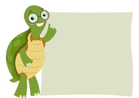 beside: Illustration of a Turtle Standing Beside a Blank Board Stock Photo