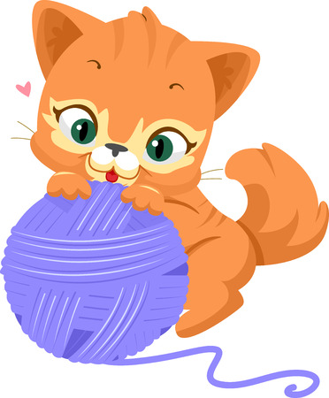 kitten: Illustration of a Cute Cat Playing with a Ball of Yarn Stock Photo