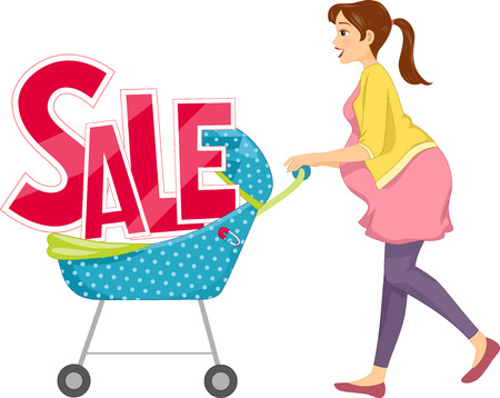markdown: Illustration of a Pregnant Woman Pushing a Baby Stroller with the Word Sale Sitting on It
