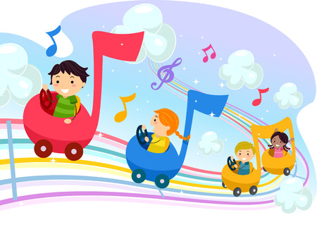 Stickman Illustration of Kids Riding Music Notes Shaped Cars