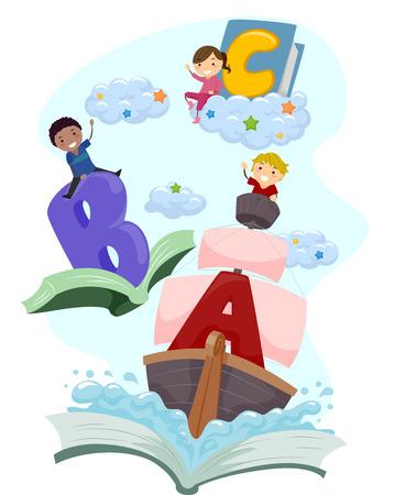 Stickman Illustratie van Kids Riding Magical Books