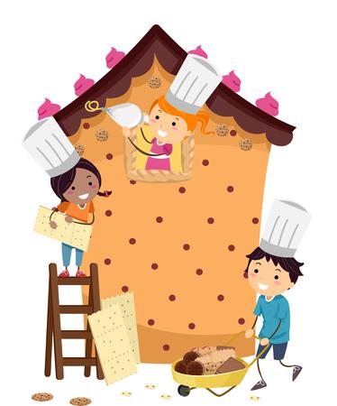 bonhomme allumette: Illustration Stickman des enfants Construire une maison Pâtisserie