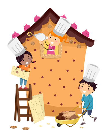house building: Stickman Illustration of Kids Building a Pastry House