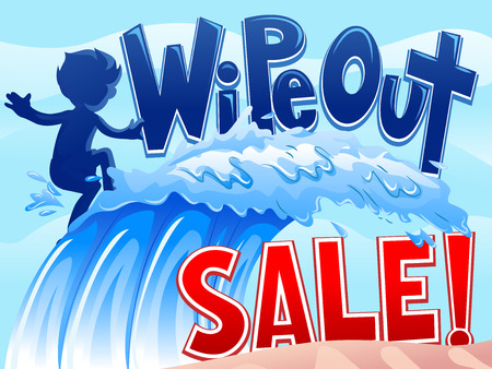 markdown: Illustration of a Little Boy Riding Waves with the Words Wipe Out Sale Written on Top