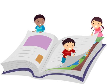 Stickman 책의 페이지를 돌고 작은 아이의 그림 스톡 콘텐츠