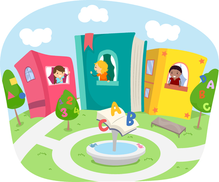 schooler: Stickman Illustration of Kids Living in a Neighborhood with Houses Made of Books