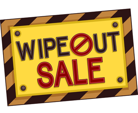 wipe: Illustration of the Words Wipe Out Sale Written on a Yellow and Black Board