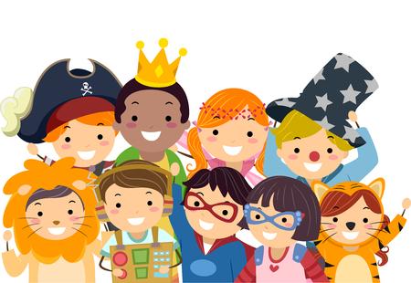 bonhomme allumette: Illustration Stickman des enfants dans des costumes Wacky Prendre une photo de groupe