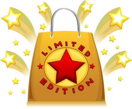 shopping bag: Illustration Featuring a Limited Edition Golden Shopping Bag