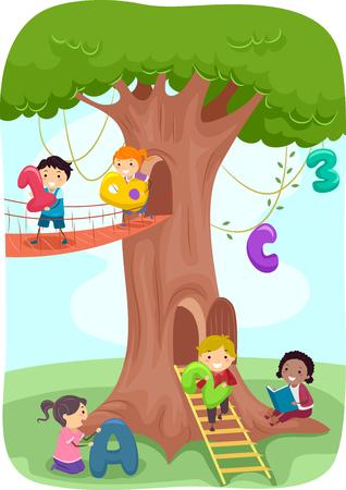 Stickman 나무로 노는 아이의 그림