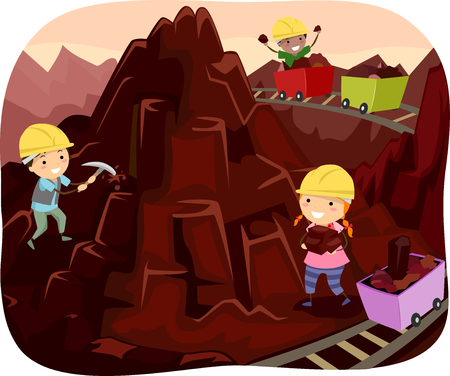 digging: Stickman Illustration of Kids Mining Chocolates from a Chocolate Mountain Stock Photo