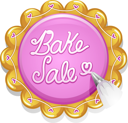 frosting: Illustration of a Baker Writing the Words Bake Sale with Cake Frosting