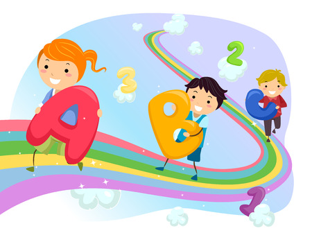 kids artwork: Stickman Illustration of Kids Walking on a Rainbow