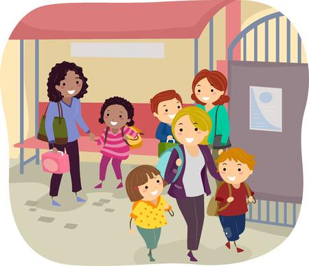 自分の子供を拾うゲート外で待っている母親のバッター イラスト