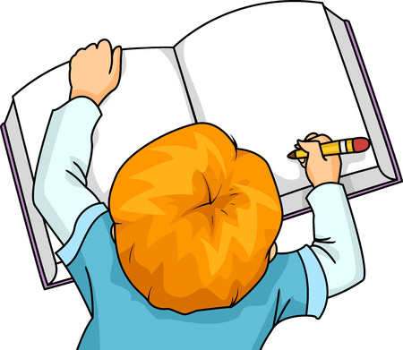 childrens book: Illustration of a Little Boy Writing on a Large Book