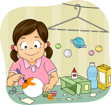 art and craft: Illustration of a Little Girl Making a Homemade Solar System Model Stock Photo