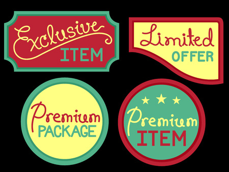 discounted: Typography Illustration Featuring Labels Offering Exclusive Discounts Stock Photo
