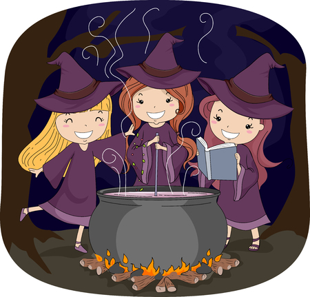 experiments: Illustration of Three Little Witches Making a Potion Stock Photo
