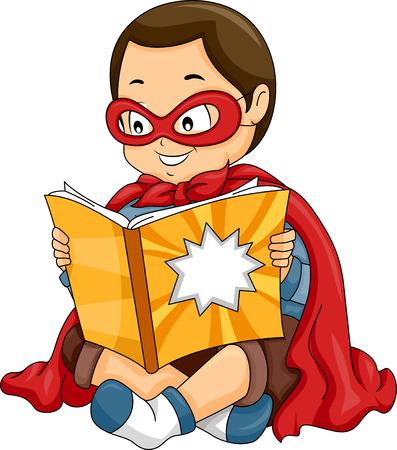 Illustratie van een kleine jongen verkleed als een superheld Reading een Comic Book Stockfoto - 49920027
