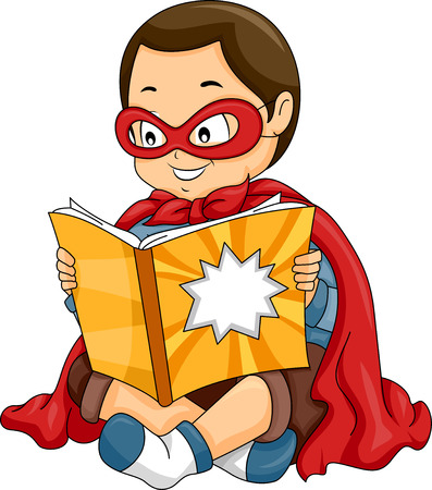 Illustration of a Little Boy Dressed as a Superhero Reading a Comic Book Stock Photo