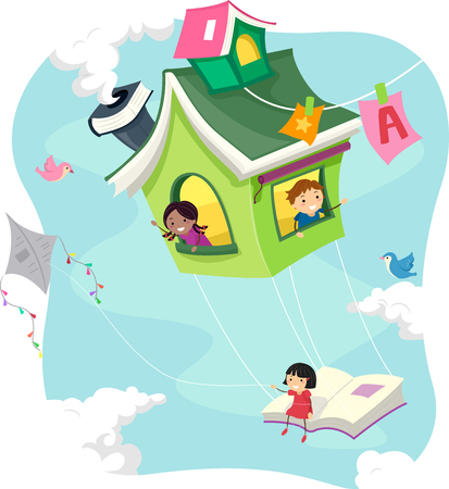 knowledge clipart: Stickman Illustration of Kids Riding a Flying Book House