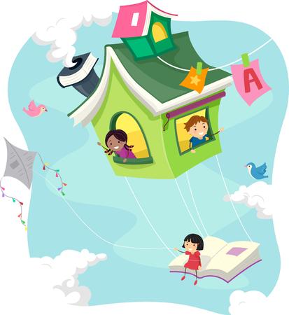 schooler: Stickman Illustration of Kids Riding a Flying Book House