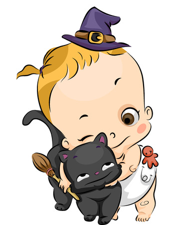 dressed: Illustration of a Little Girl Dressed as a Witch Hugging a Black Cat