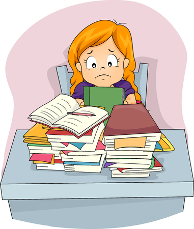 Illustration of a Stressed Little Girl Staring at the Pile of Homework Before Her Stok Fotoğraf