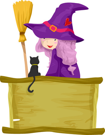 familiar: Illustration of a Little Girl Dressed as a Witch Talking to Her Familiar Spirit