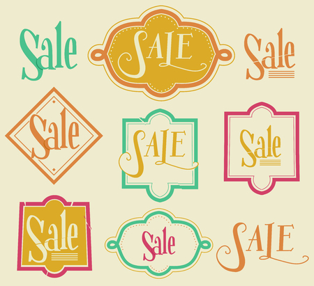 markdown: Illustration Featuring Sale Labels with Different Designs