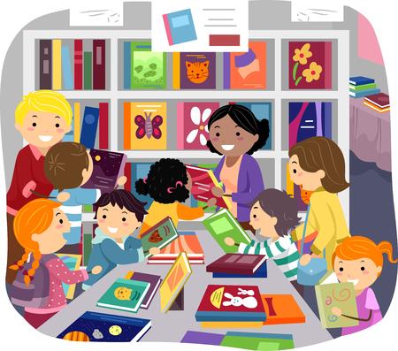 children school clip art: Stickman Illustration of Parents Helping Their Kids Choose Books in a Bookstore