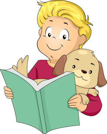 childrens book: Illustration of a Little Boy Reading a Book to His Pet Dog Stock Photo