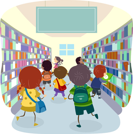 choosing: Stickman Illustration of Kids Choosing Books from a Bookstore