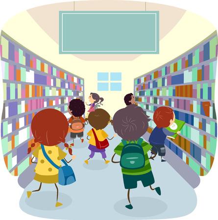 bookstore: Stickman Illustration of Kids Choosing Books from a Bookstore