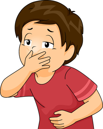 cartoon kid: Illustration of a Little Boy About to Throw Up Covering His Mouth