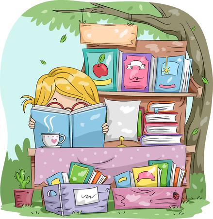 마당에서 판매 매닝 동안 책을 읽고 어린 소녀의 그림 스톡 콘텐츠