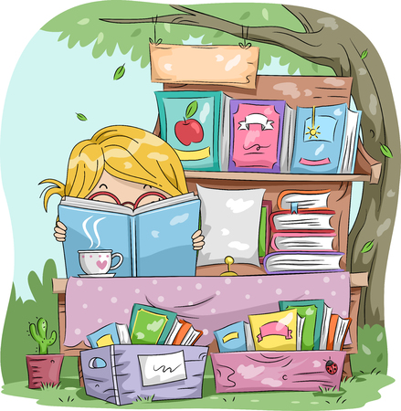 sales book: Illustration of a Little Girl Reading a Book While Manning a Yard Sale