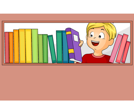 books library: Illustration of a Little Boy Choosing from the Books in the Library