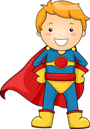 striking: Illustration of a Little Boy Dressed as a Superhero Striking a Pose Stock Photo