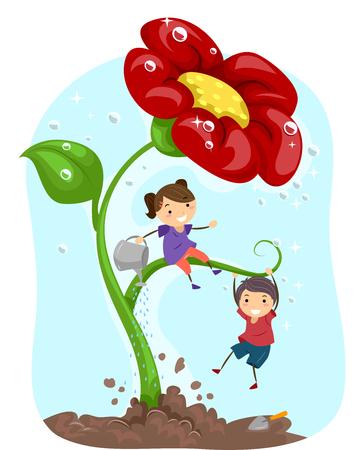 bonhomme allumette: Illustration Stickman des enfants arroser une fleur géante