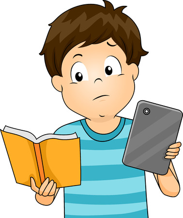 comparing: Illustration of a Little Boy Comparing a Book and a Tablet