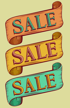 bargaining: Typography Illustration Featuring the Word Sale Written on Vintage Ribbons