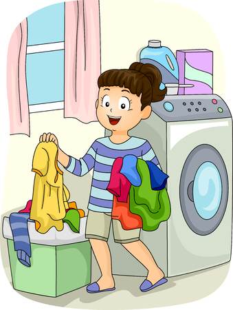 Illustration of a Little Girl Collecting Clothes from the Hamper Фото со стока