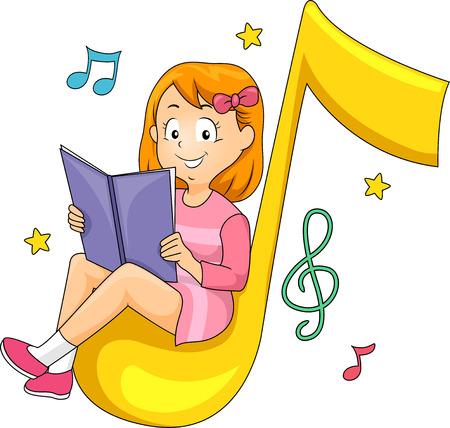 persona cantando: Ilustración de una niña sentada cómodamente mientras lee un libro Música Foto de archivo