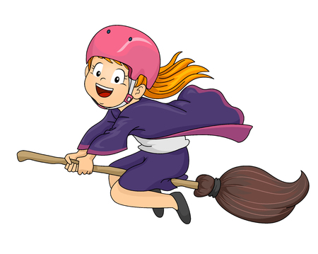 wizardry: Illustration of a Little Girl Dressed as a Witch Flying on Her Broomstick Stock Photo