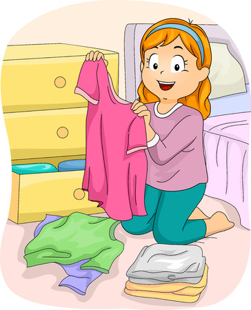 Illustration of a Little Girl Folding Freshly Washed Clothes Banco de Imagens