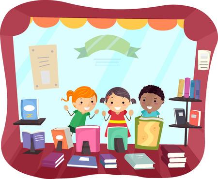 educativo: Ilustración stickman de los niños asomándose desde el escaparate de una librería